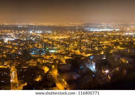 Panoramic night shot of Lima city, Peru