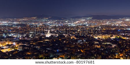 Panoramic night view of Athens from Lycabettus hill