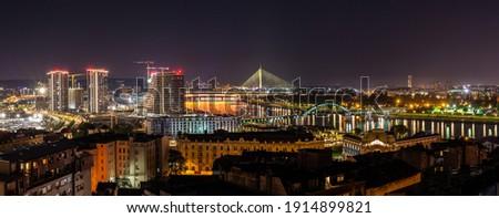 Panoramic night view of downtown Belgrade, river Sava and New Belgrade from height Stock photo ©