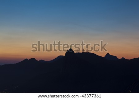 Panoramic Night views of Corcovado and the statue of Christ in Rio de Janeiro from Sugar Loaf Mountain