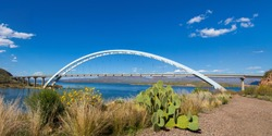 Panoramic of brittlebush spring flowers and prickly pear cactus by Theodore Roosevelt Lake Bridge in a sunny day with blue sky and fluffy white clouds. Bridge crosses the reservoir on the Salt River.