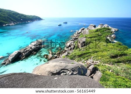 Panoramic of Coral view from the Sailing Rock, Similan National Park Thailand