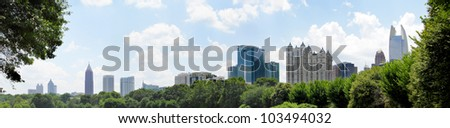Panoramic of downtown Atlanta Georgia from Piedmont park. - stock photo