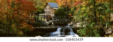 Panoramic of Glade Creek Grist Mill in Babcock State Park, West Virginia