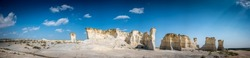 Panoramic of Monument Rocks in Grove County, Kansas. The chalk rock formation is a listed National Natural Landmark.
