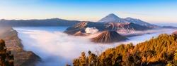 Panoramic of Mt.Bromo in Tengger Semeru National Park, East Java, Indonesia
