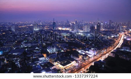 Panoramic of Night scene with  aerial view of Bangkok buildings, which Bangkok city downtown and Express ways, toll way, high way , roads in the city. #1337397224