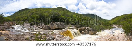 Panoramic of River with a waterfall in chapada diamantina - Brazil .