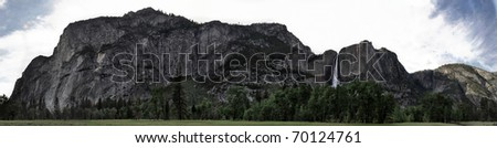 Panoramic of rock formations in Yosemite Valley - stock photo