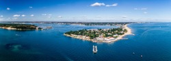 Panoramic of Sandbanks ferry in Poole Harbour entrance. Dorset, UK