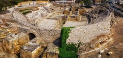 Panoramic of the ancient roman amphitheater in Tarragona, historical monument, Spain