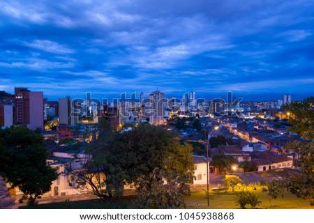 Panoramic of the City Cali, Santiago de Cali, Valle del Cauca, Colombia