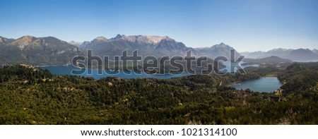 Panoramic of the lakes, mountains and forest near Bariloche city in argentinian Patagonia, taken from the Campanario mountain. #1021314100