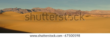 Panoramic of the Mesquite Sand Dunes in Death Valley National Park, California