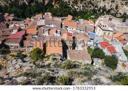 Panoramic of the Spanish city of Ayna, in La Mancha, seen from above, famous for its orchards next to the Jucar river. Stok fotoğraf ©