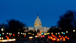 Panoramic of The United States Capitol at Sunset, Blurred Background with street light