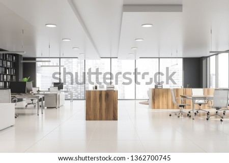 Panoramic office interior with open space area and rows of computers, conference table and small lounge. 3d rendering