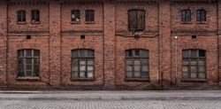 Panoramic old, grunge, abandoned urban/ industrial background with copy space