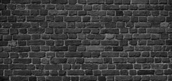 Panoramic Old Grunge Black and White Brick Wall Background. Abstract  Brickwall Texture Close up. Monochrome Background. Wide Angle Wallpaper, billboard or Web banner With Copy Space for design