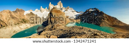 Panoramic on the mount FItz Roy, with Laguna Sucia and Laguna Los Tres, El Chalten, Patagonia, Argentina