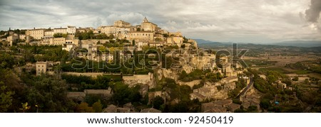 Panoramic overview of medieval hilltop town of Gordes.