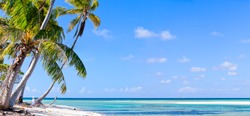 Panoramic photo of a deserted island on French Polynesia