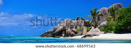 Panoramic photo of Anse Source d'Argent beach in Seychelles