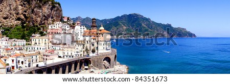 Panoramic photo of Atrani, a village on the Amalfi Coast of Italy