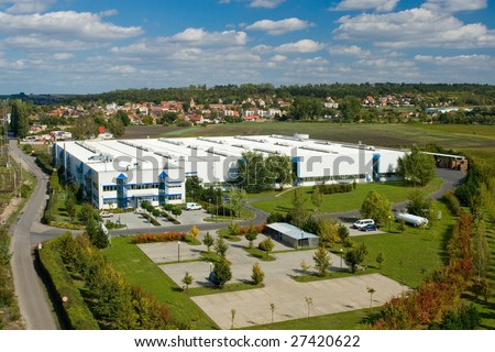 Panoramic photo of big company Thimm in czech republic