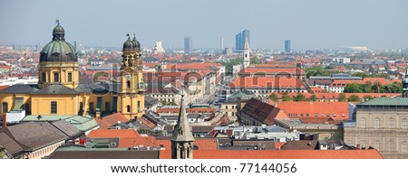 Panoramic photo of city center of Munich in Germany