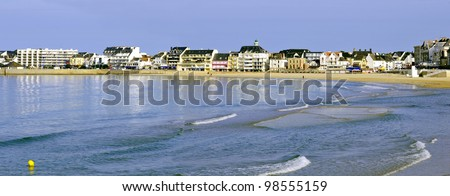 Panoramic photo of sea , beach and town of Quiberon in the Morbihan department in Brittany in north-western France.