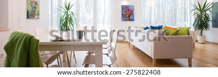 Panoramic photo of spacious cozy untidy living room #275822408