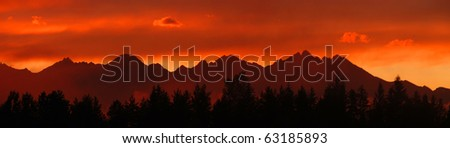 Panoramic photo of Tatras mountains in Slovakia after the storm in the evening at dusk