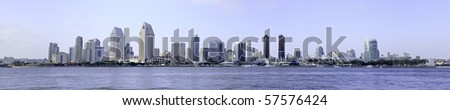 Panoramic photo of the city of San Diego Skyline in Southern California, USA. - stock photo