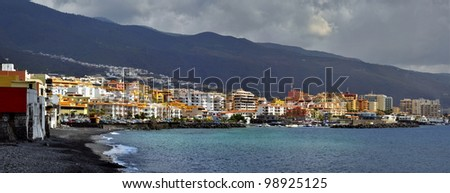 Panoramic photo of town and beach of Candelaria of the eastern part of Tenerife in the Spanish Canary Islands.