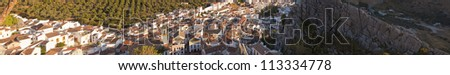 Panoramic photo overviewing the pueblo blanco Montejaque. Mountain village. Malaga. Andalusia. Spain.