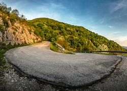 panoramic photo the third bend of the road from Marcellina to Favale. Rome, Lazio, Italy.