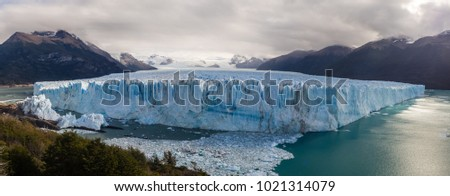 Panoramic pic of the Perito Moreno Glacier in El Calafate city, south of Patagonia in Argentina. Glaciers National Park