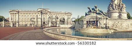 Panoramic picture of Buckingham Palace and Victoria Memorial, London. ( outside Buckingham Palace)