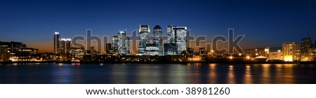 Panoramic picture of Canary Wharf view from Greenwich.This view includes: Credit Suisse, Morgan Stanley, HSBC Group Head Office, Canary Wharf Tower, Citigroup Centre, One Churchill Place(Barclays).