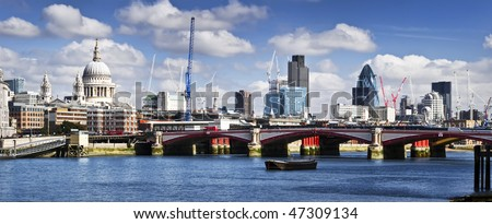 Panoramic picture of Central London. This view includes: St Paul's Cathedral, and skyscrapers of City of London.