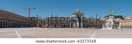 panoramic picture of Commerce Square also known as Terreiro do Paco in Lisbon, Portugal