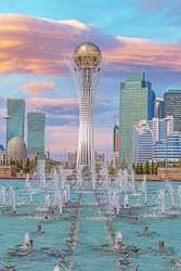 Panoramic picture of downtown Kazakhstan city Astana with its modern buildings during the day in summer time