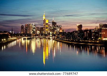 Panoramic picture of Frankfurt on Main during sunset