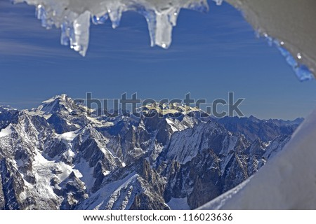 Panoramic picture of Mont Blanc, french Alps,Chamonix. With 4808 meters its the highest alpine peak, seen from the Aiguille du Midi cable car station (3842 m).