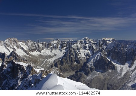 Panoramic picture of Mont Blanc, french Alps. With 4808 meters its the highest alpine peak, seen from the Aiguille du Midi cable car station (3842 m).