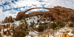 Panoramic picture of natural and geological wonders of Arches national park in Utah