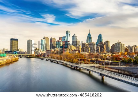 Panoramic picture of Philadelphia skyline and Schuylkill river, PA, USA.