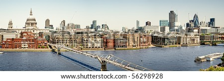 Panoramic picture of St Paul's Cathedral and Millennium Bridge