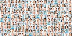 Panoramic portrait collage of doctor and nursing and intensive care team